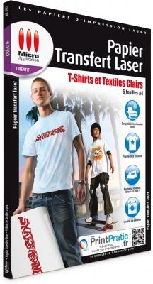 PAPIER TRANSFERT LASER T-SHIRT ET TEXTILES CLAIRS  